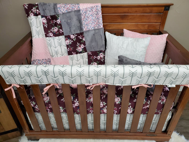 Pre-Order Girl Crib Bedding - Maroon Floral Bedding Set