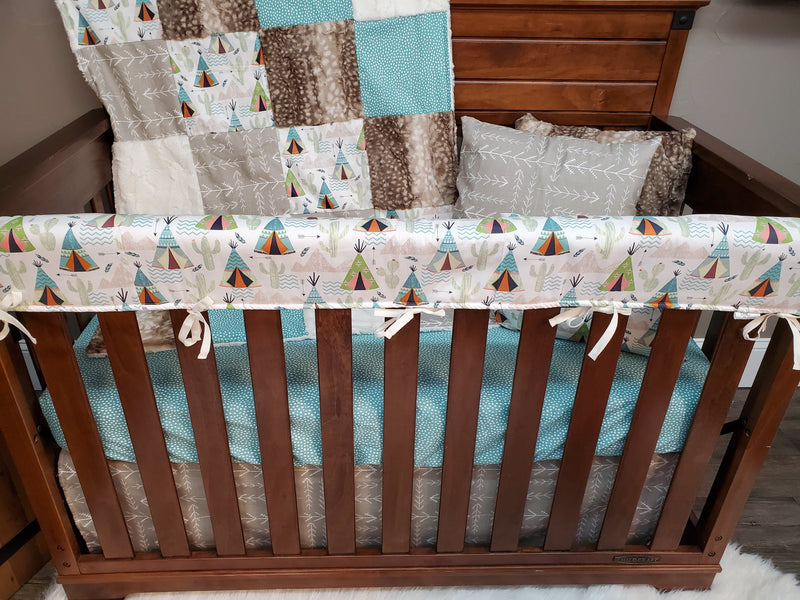 Ready to Ship Neutral Crib Bedding - Teepee and Cactus Bedding Set