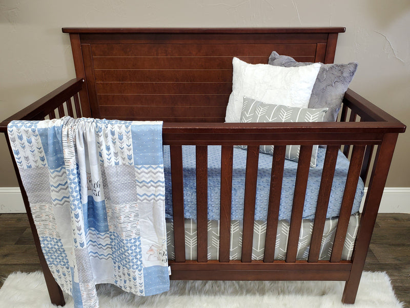 New Design Custom Neutral Crib Bedding- Worth the Wait Elephant, Gray Arrow, Slate Blue Minky, Worth the Wait Elephant Collection