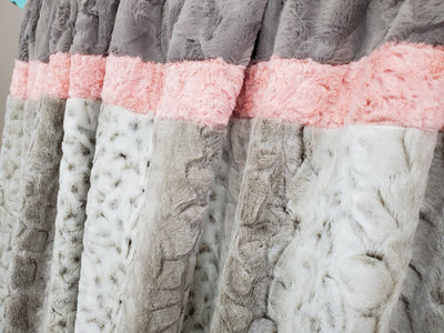 Adult Minky Blanket - Lynx Hide Minky, Accent Crushed Minky and Stone Crushed Minky