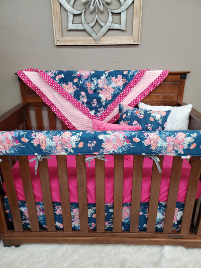 Pre-Order Girl Crib Bedding - Navy Floral Bedding Set