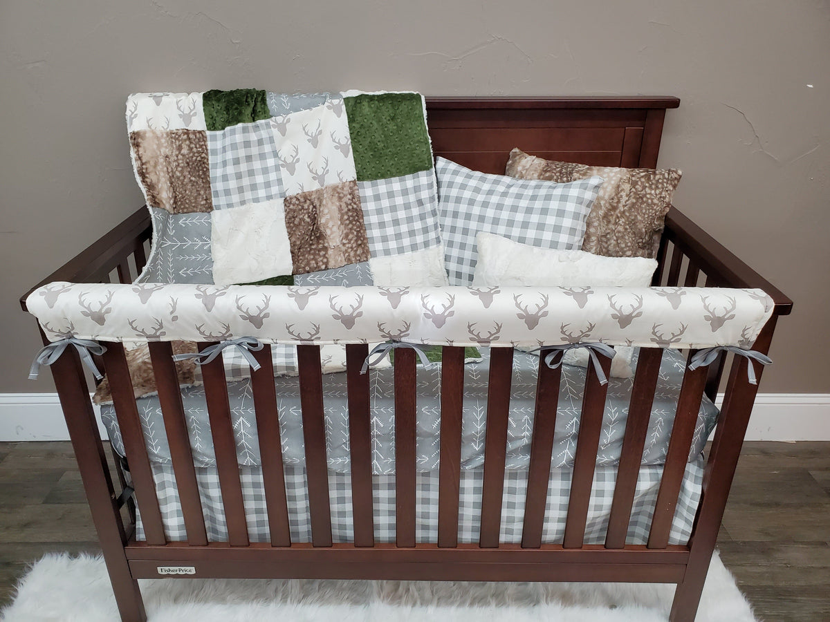 Ready to Ship Neutral Crib Bedding - Buck, Arrow, Hunter Green Woodland Collection