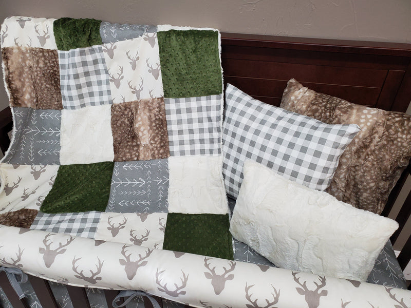 Ready to Ship Neutral Crib Bedding - Buck, Gray Tribal Arrow, Hunter Green Bedding Set