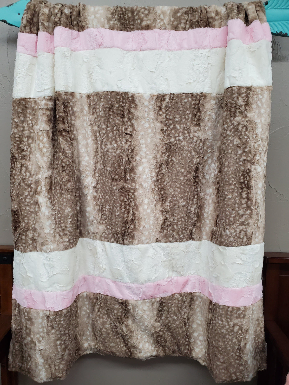 Comfort Blanket - Fawn Minky, Blush Minky and Ivory Hide Minky