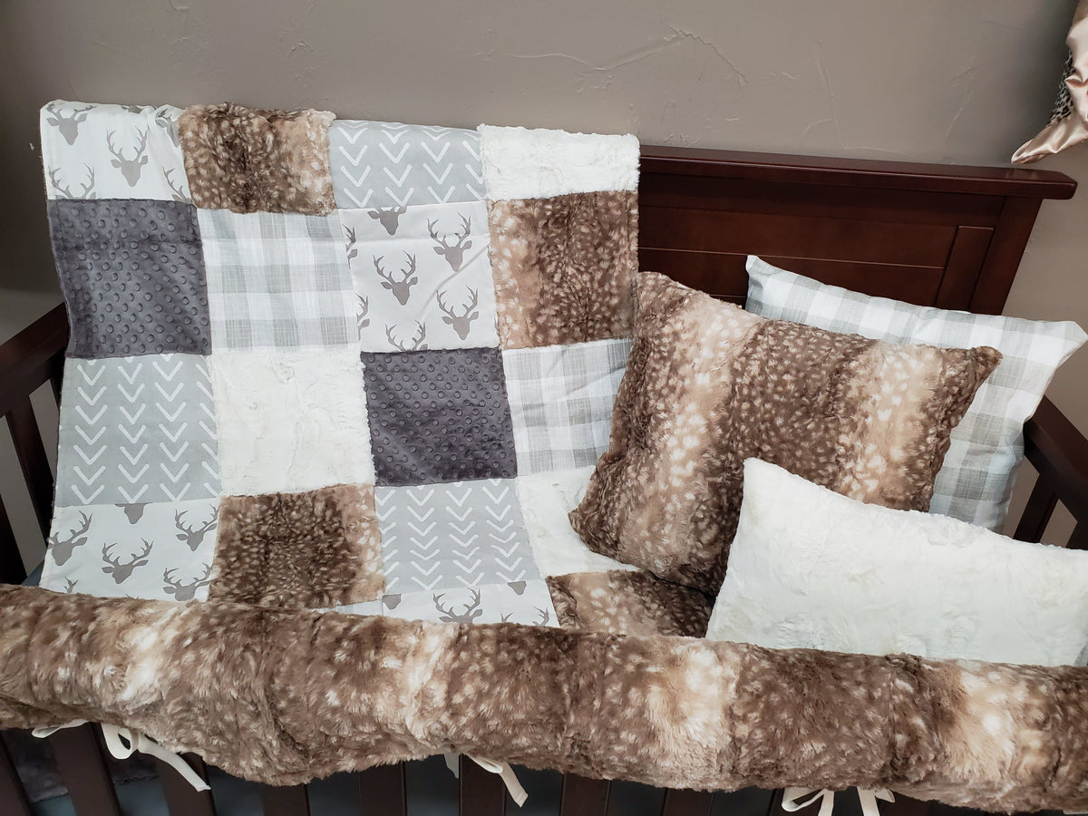 Ready to Ship Neutral Crib Bedding - Buck and Fawn Minky Woodland Collection