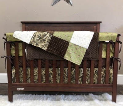 Custom Boy Crib Bedding- Ducks, Switchgrass Camo, Duck Collection