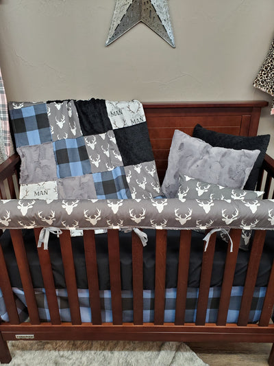 Ready to Ship Boy Crib Bedding - Blue Check and Buck Bedding Set