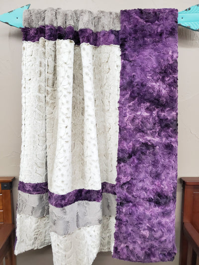 Comfort Blanket - Lynx Hide Minky, Plum Galaxy Minky and Stone Crushed Minky