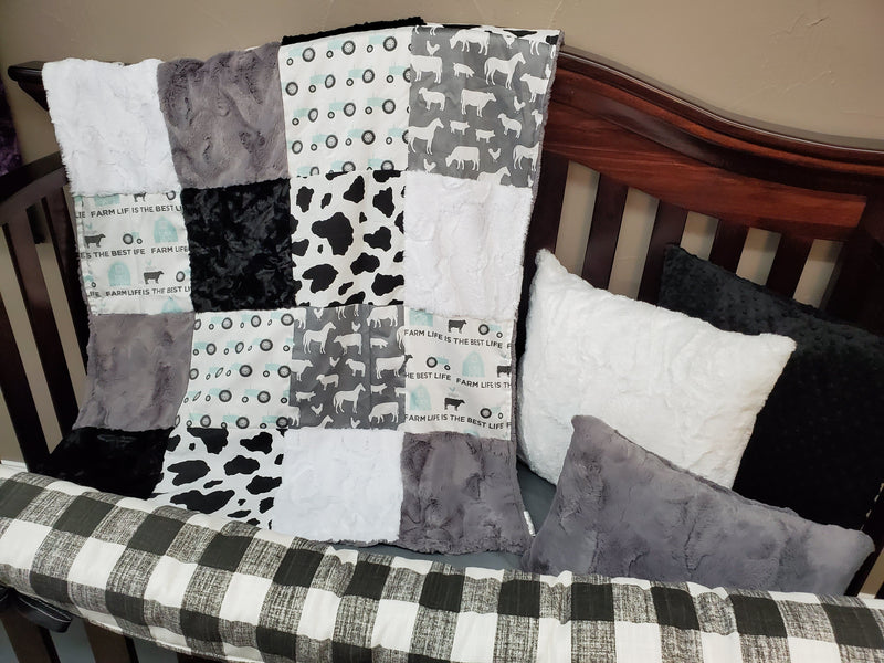 Ready to Ship Neutral Crib Bedding - Farm Life is Best Bedding Set