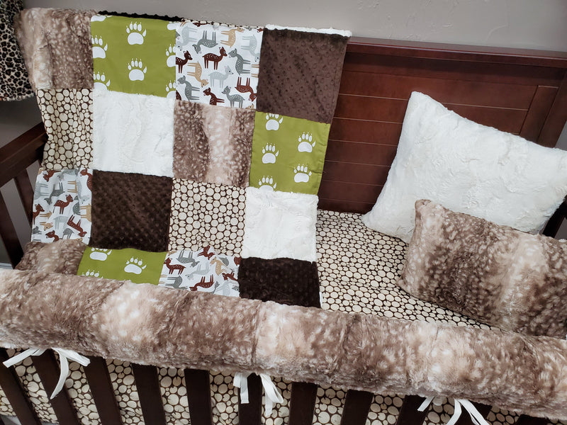 Ready to Ship Neutral Crib Bedding - Bear Paw and Deers Bedding Set