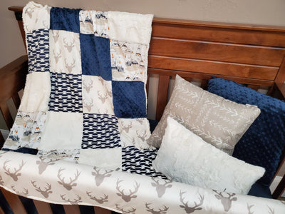 Ready to Ship Boy Crib Bedding - Buck Mountain Bedding Set