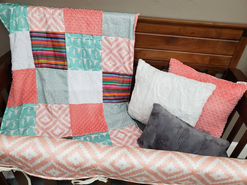 Ready to Ship Girl Crib Bedding - Steer and Serape Stripe Bedding Set