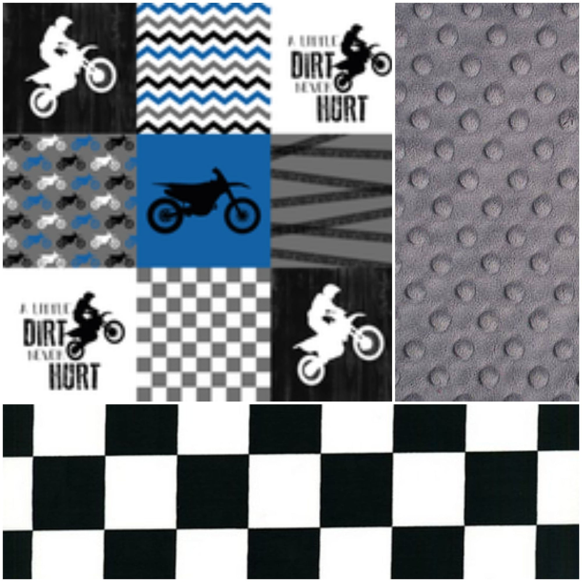 Ready to Ship Boy Crib Bedding - Blue Motocross 4pc set