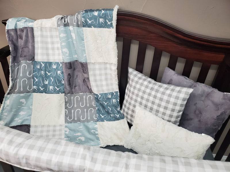 Ready to Ship Neutral Crib Bedding - Fishing Bedding Set