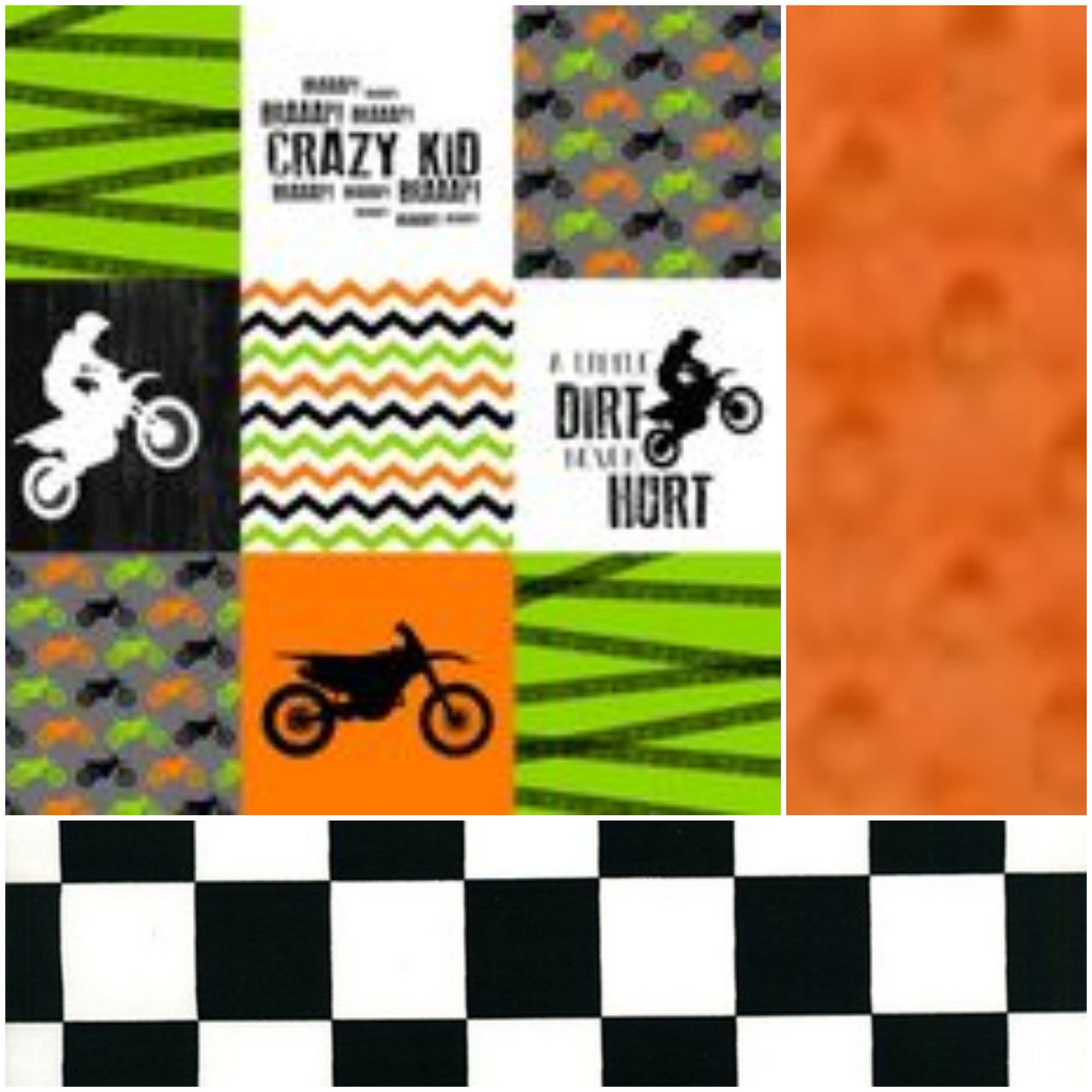 Custom Boy Crib Bedding - Orange and Green Dirt Bike, Orange Minky, Race Flag Check, Motorcross Collection
