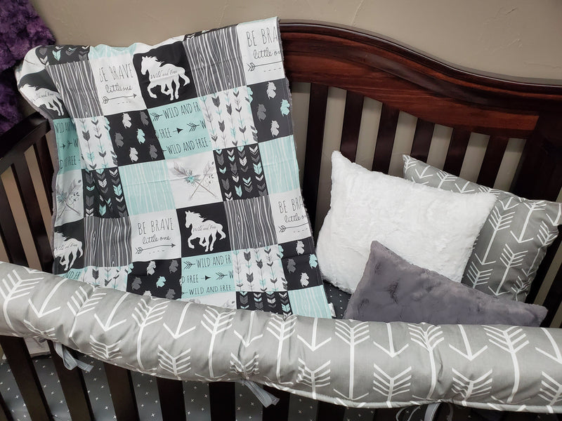 Ready to Ship Girl Crib Bedding - Wild Free Horses 4pc set