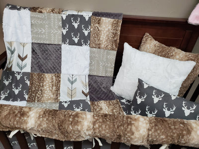 Custom Boy Crib Bedding - Buck and Arrow Woodland Collection