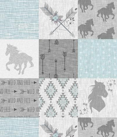Twin, Full, or Queen Comforter - Wild Free Horse in Mint