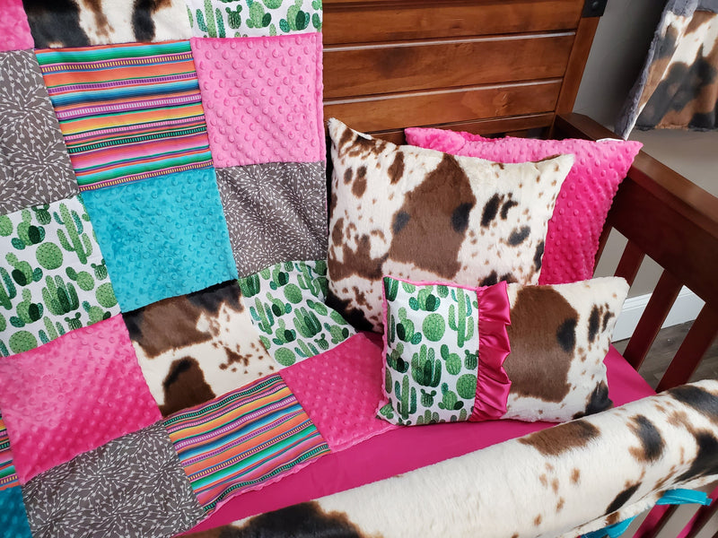 Ready to Ship Girl Crib Bedding - Cactus, Serape Stripe, and Cow Minky Set