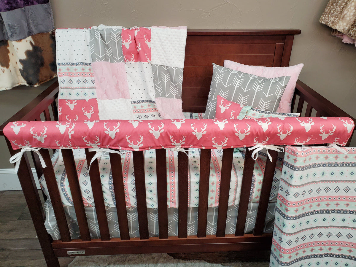 Ready to Ship Girl Crib Bedding - Pink Buck and Aztec Woodland Collection