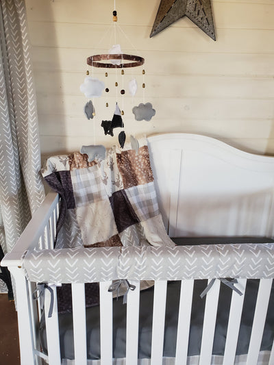 Ready to Ship Neutral Crib Bedding - Buck and Arrow Woodland Collection