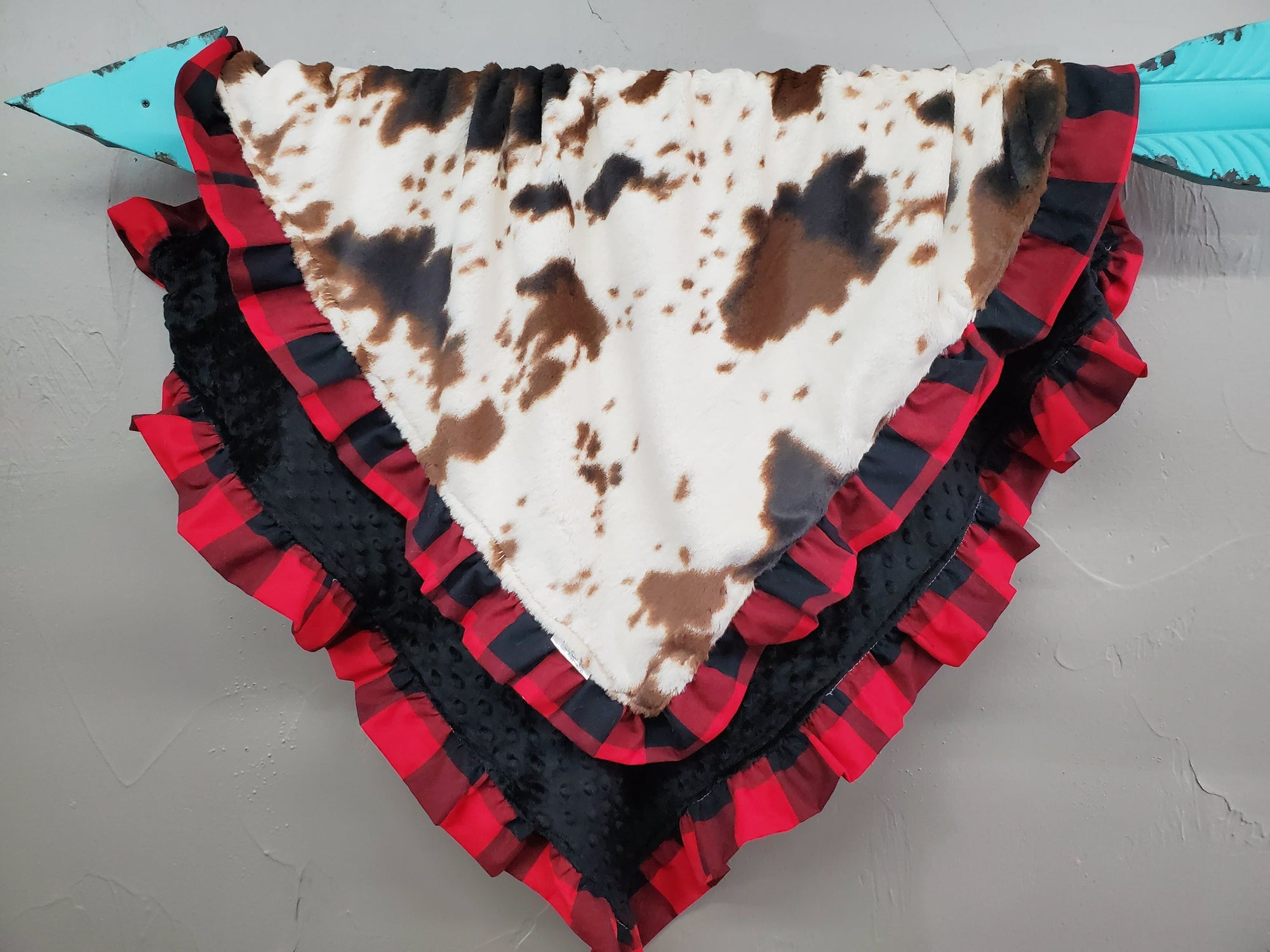 Ruffle Blanket - Cow minky and black minky with red black check ruffle