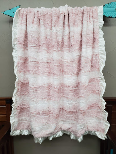 Ruffle Blanket - *1 FREE Name Embroidered* rosewater fawn minky and Gray Hide minky with ivory satin ruffle