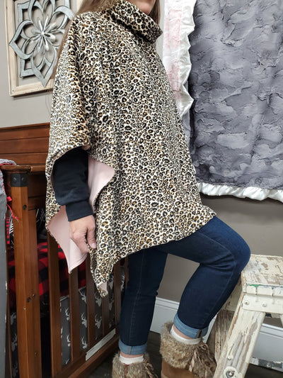 Poncho - Cheetah minky with peach knit lining Ladies Poncho