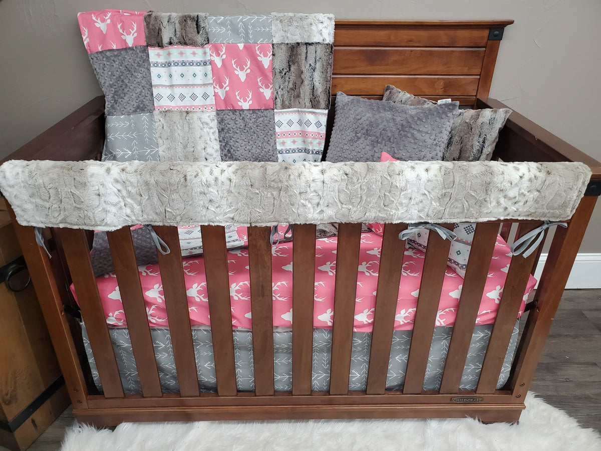 Ready to Ship Girl Crib Bedding - Pink Buck and Lynx Minky Collection