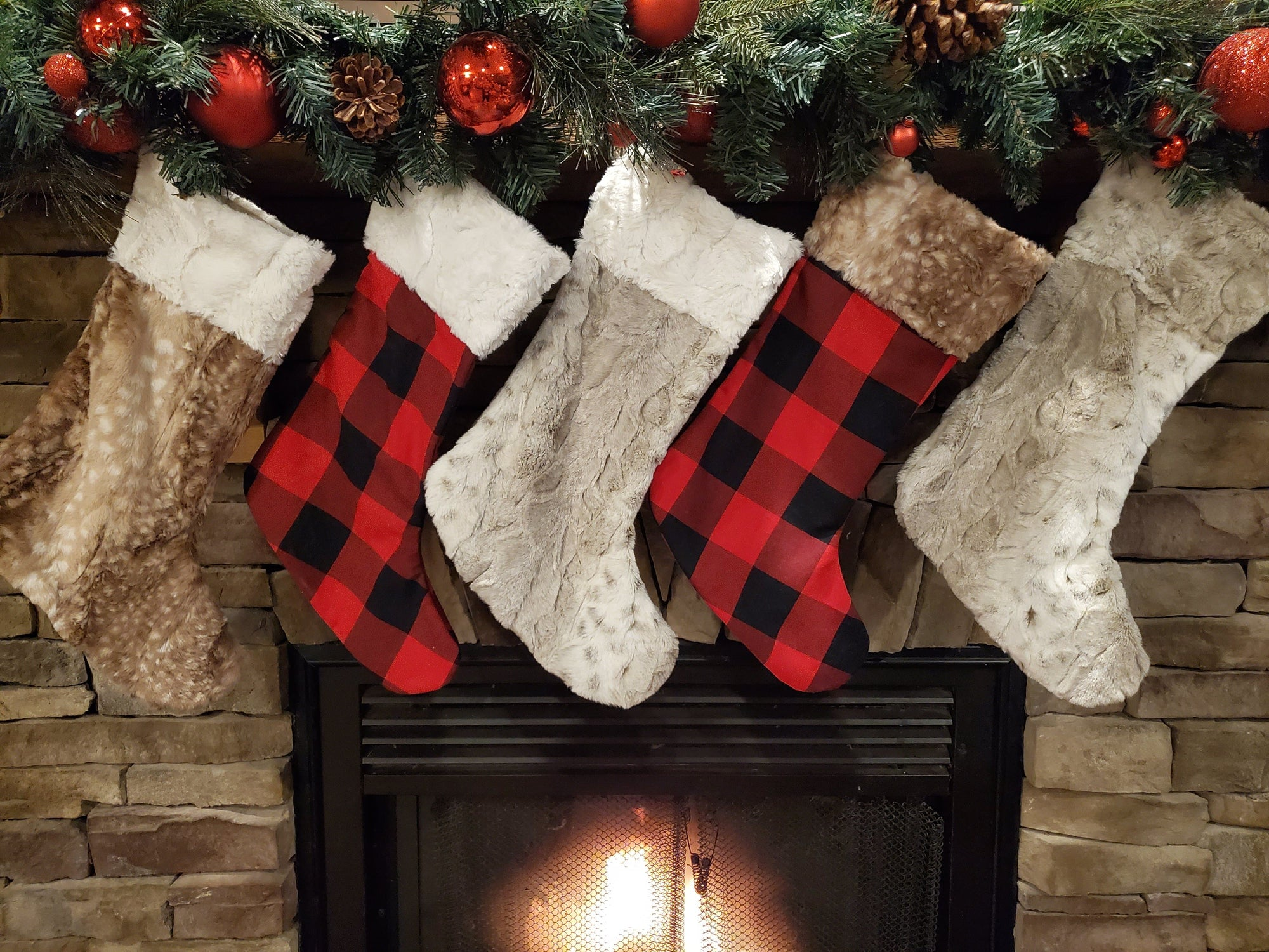 Home Decor - Christmas Stocking - Red Black Check, Lynx Minky, and Fawn Minky Collection
