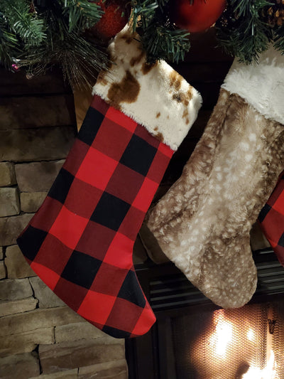 Home Decor -Christmas Stocking - Red Black Check, Cow Minky, and Fawn Minky Collection