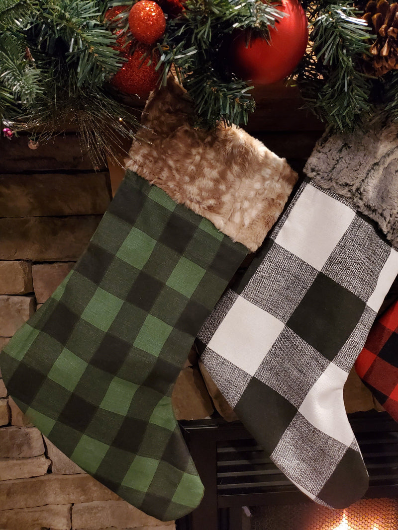 Home Decor - Christmas Stocking - Check and Minky Collection