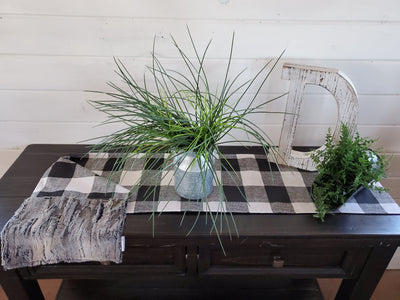 Home Decor - Table Runner - Black White Check with Rabbit Minky decorative ends