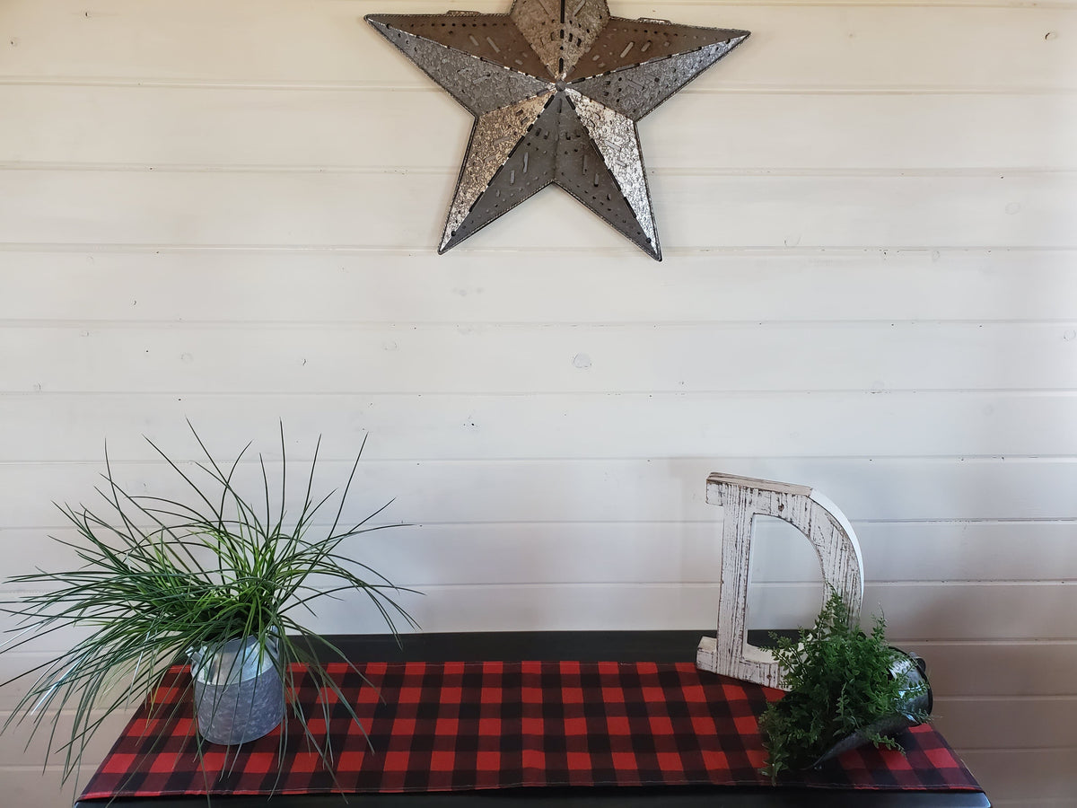 Home Decor - Table Runner - Red Black Check with Fawn Minky decorative ends