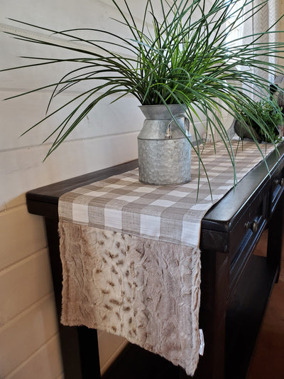 Home Decor - Table Runner - Ecru Slub Check with Lynx Minky decorative ends