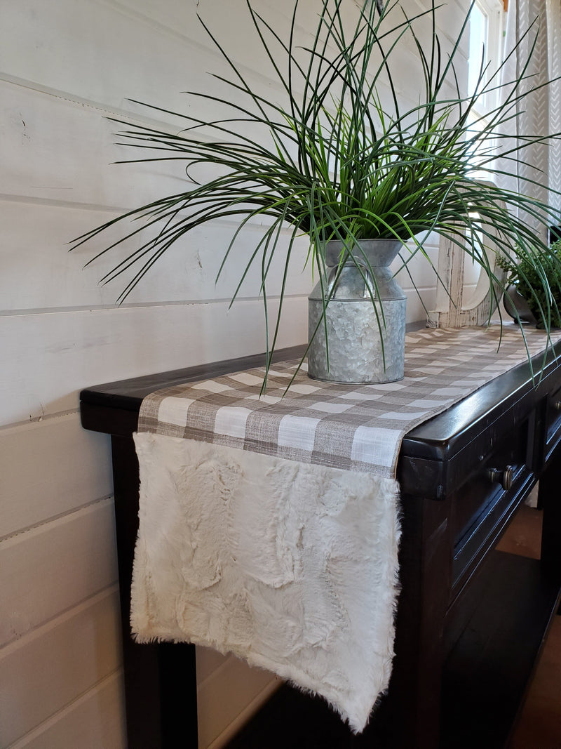 Home Decor- Table Runner -Ecru Slub Check with Ivory Hide Minky decorative ends