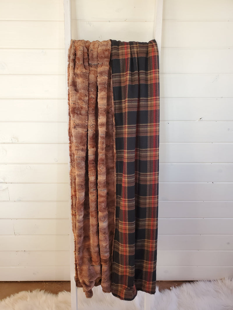 Comfort Blanket - Red Fox Minky and russet plaid