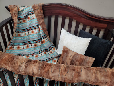 Ready to Ship Boy Crib Bedding - Fox Minky and Mint Aztec Ranch Collection
