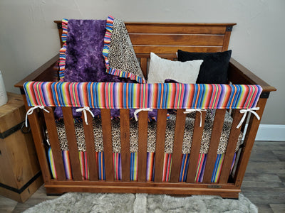 Ready to Ship Girl Crib Bedding - Cheetah Minky and Purple Serape Collection
