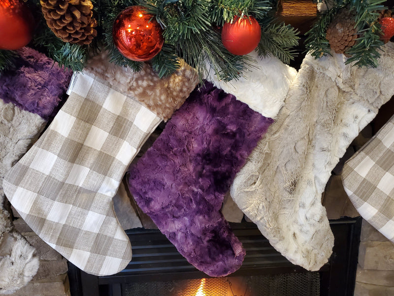 Home Decor - Christmas Stocking - Ecru Check, Plum Galaxy Minky, and Fawn Minky Collection