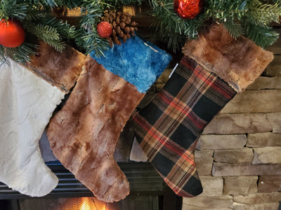 Home Decor - Christmas Stocking -  Russet Plaid, Fox Minky, and Ivory Minky Collection