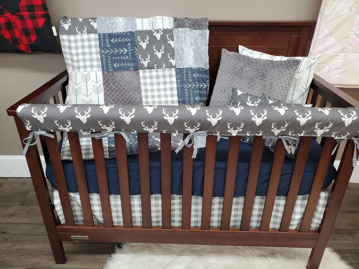 Quick Ship Boy Crib Bedding - Buck and Silver Fawn Woodland Collection