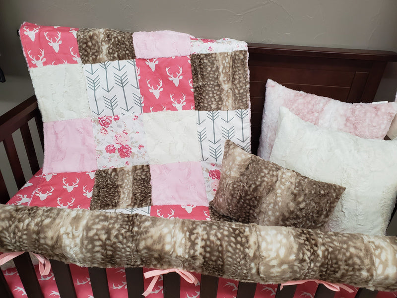 2 Day Ship Girl Crib Bedding - Pink Buck and Romantic Roses Collection