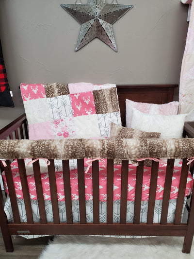 Quick Ship Girl Crib Bedding - Pink Buck and Romantic Roses Collection
