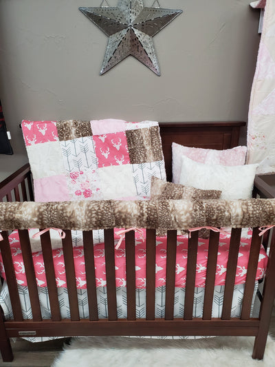 Quick Ship Girl Crib Bedding - Buck and Romantic Roses Woodland Collection