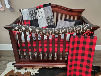 Quick Ship Boy Crib Bedding - Red Black Check and Silver Fawn Set