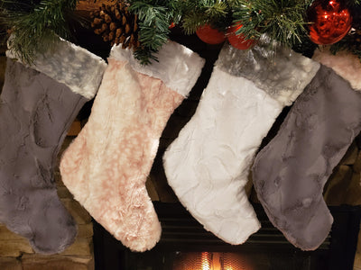 Home Decor - Christmas Stocking - Silver Fawn, Gray Hide Minky, White Hide Minky, and Rosewater Fawn Minky Collection