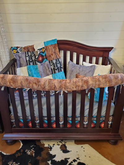 Ready to Ship Boy Crib Bedding - Aztec and Red Fox Minky Nursery Collection