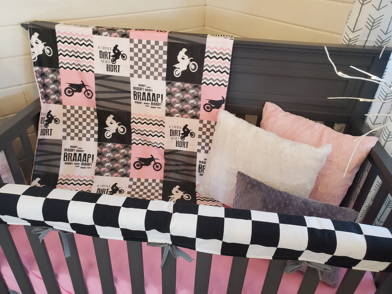 Ready to Ship Girl Crib Bedding - Motocross Collection