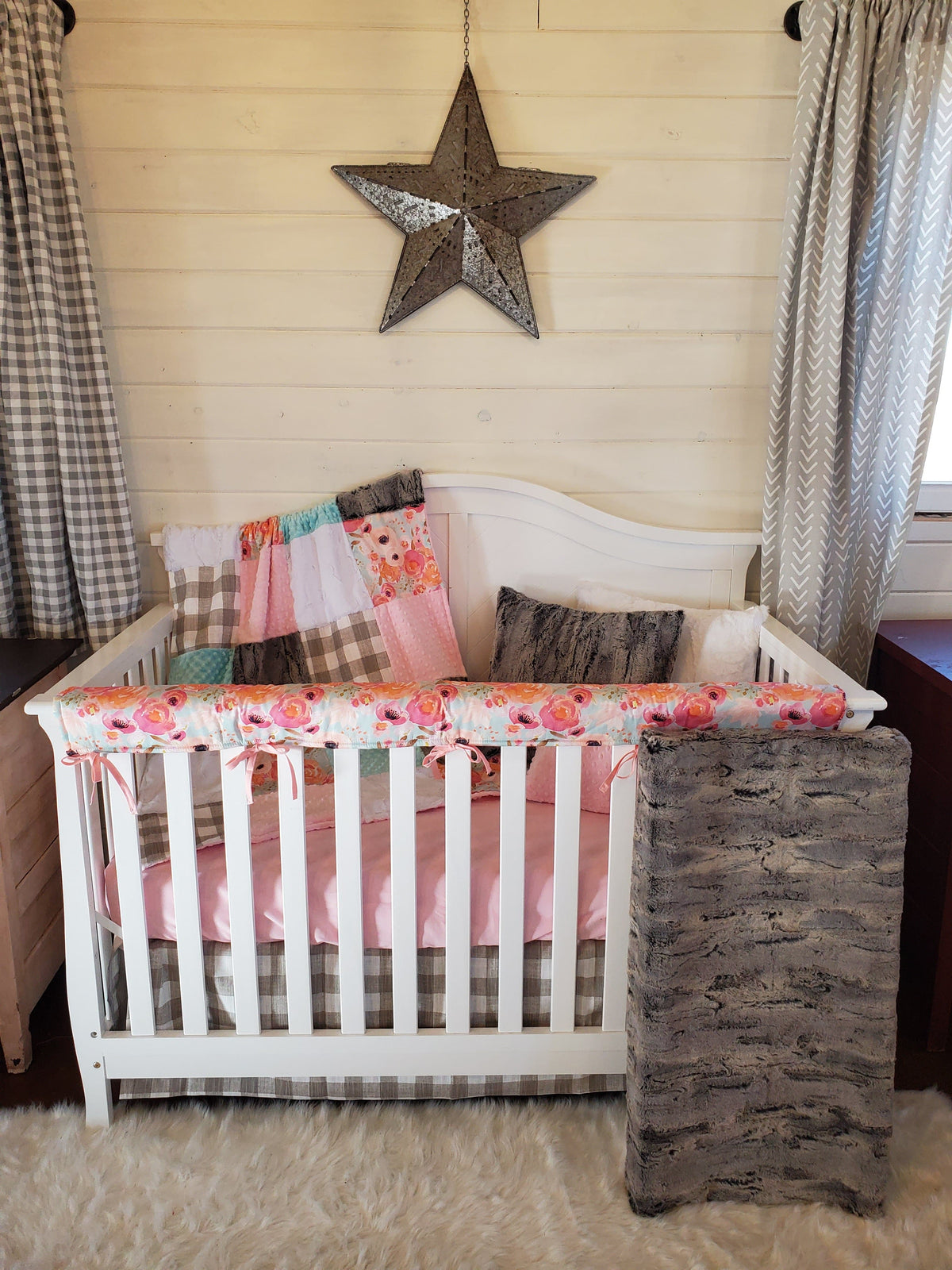 Ready to Ship Girl Crib Bedding - Rabbit Minky and Watercolor Floral Collection